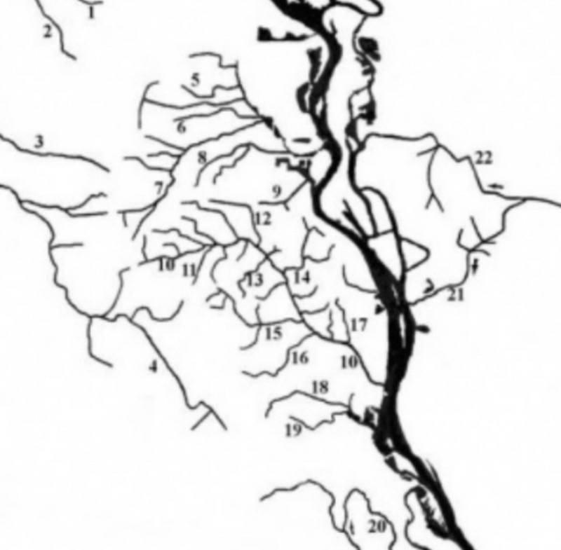 Схема некоторых малых рек